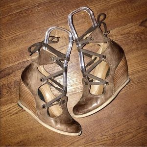 Anthropologie Lace Up Ankle Wedge Heels Bootie
